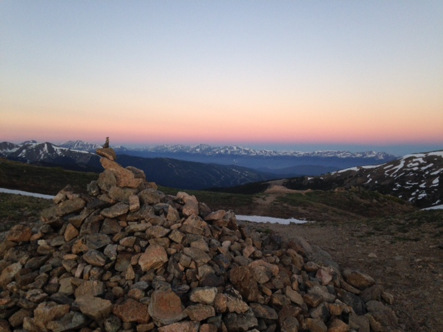 Sunrise cairn on the Continental Divide hike - alpine biology tour!