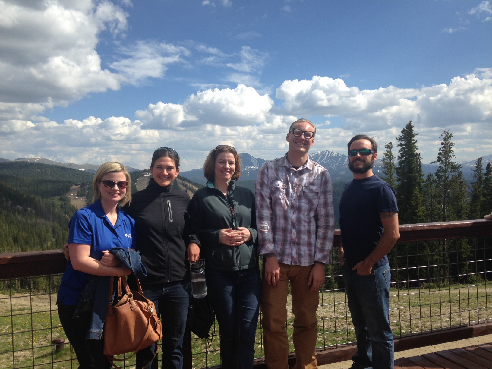 Networking with new friends from California and Florida at the top of the Gondola in Keystone.